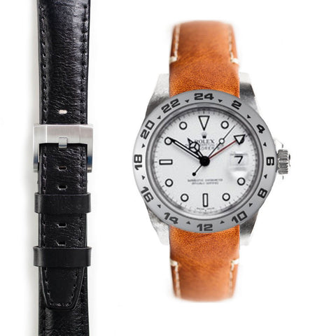 Everest Curved End Leather Strap with Tang Buckle for Rolex Explorer II