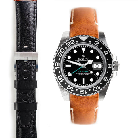 Everest Curved End Leather Strap with Tang Buckle for Rolex GMT Master II Ceramic