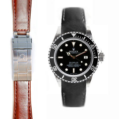 Everest Curved End Leather Strap for Rolex Sea-Dweller Deployant Buckle