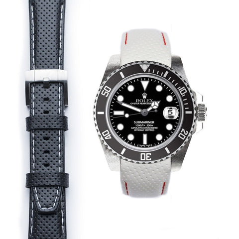 Everest Curved End Racing Leather Strap with Tang Buckle for Rolex Submariner Ceramic