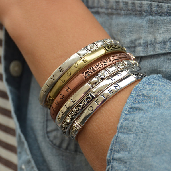 Motivational Bracelets with Crystals in Silver and Tri-Tone
