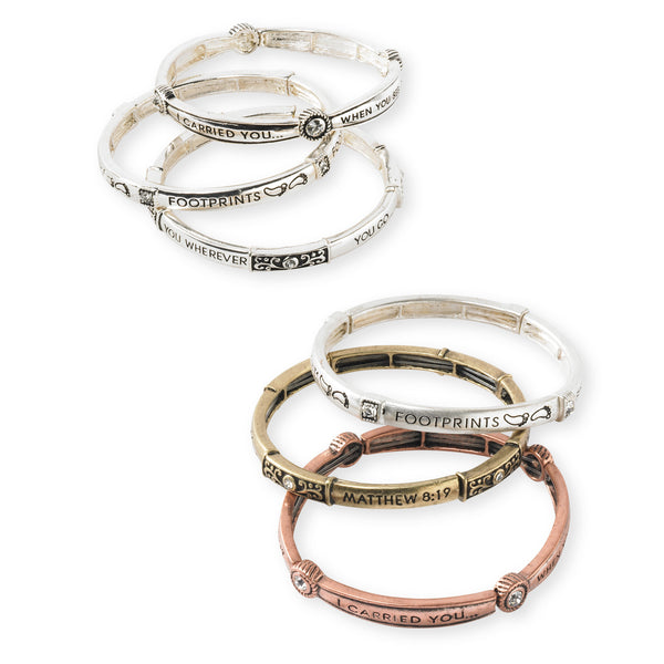 Inspirational Bracelets with Crystals in Silver and Tri-Tone