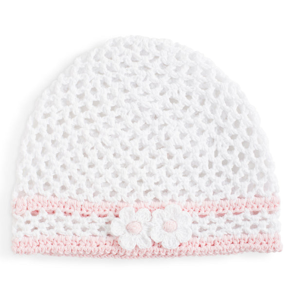 White & Pink Crocheted Baby Hat - One Size Fits Most