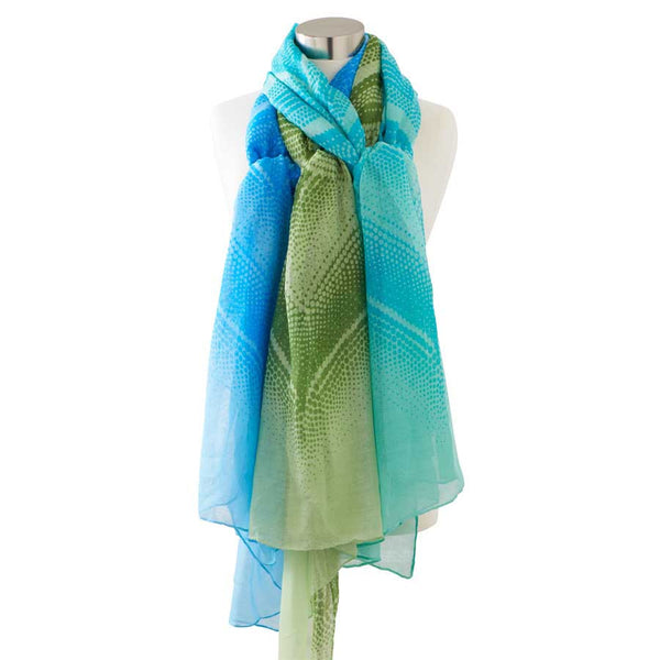 Two-Tone Dotted Patterned Scarves - 1 @ Aqua, Blue & Olive