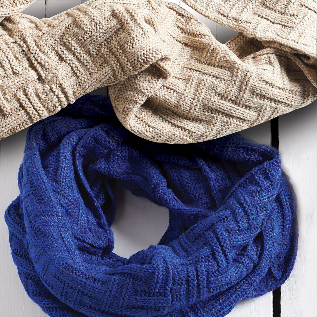 Assorted Basketweave-Knit Infinity Scarves (1 @ Blue & Camel)