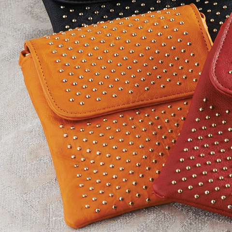Orange Studded Crossbody Bag with Chain and Detachable Shoulder Strap