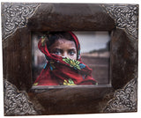 Dark Stain Wood Frame with Metal Corner Accents 4x6 5x7