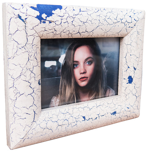 White and Blue Crrackle Paint Frame 4x6 5x7