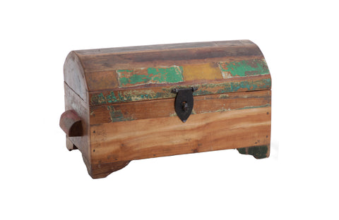 Wooden Box with Handles - Round Top