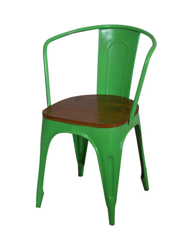 Green Iron Chairs With Wooden Seat