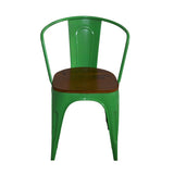 Green Iron Garden Chairs With Wooden Seat