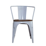White Iron Chairs With Wooden Seat