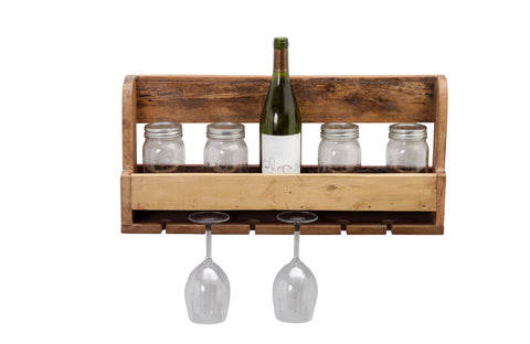 Wall Mounted Wine Rack - Holds Bottles/Glasses
