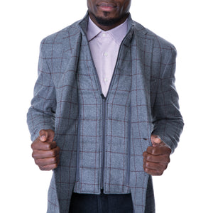 Grey Bordeaux Windowpane Sport Jacket with Removable Bib - Sydney's, Toronto, Bespoke Suit, Made-to-Measure, Custom Suit,