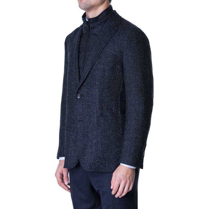 Navy Boucle Bib Sport Jacket with Removable Bib - Sydney's, Toronto, Bespoke Suit, Made-to-Measure, Custom Suit,