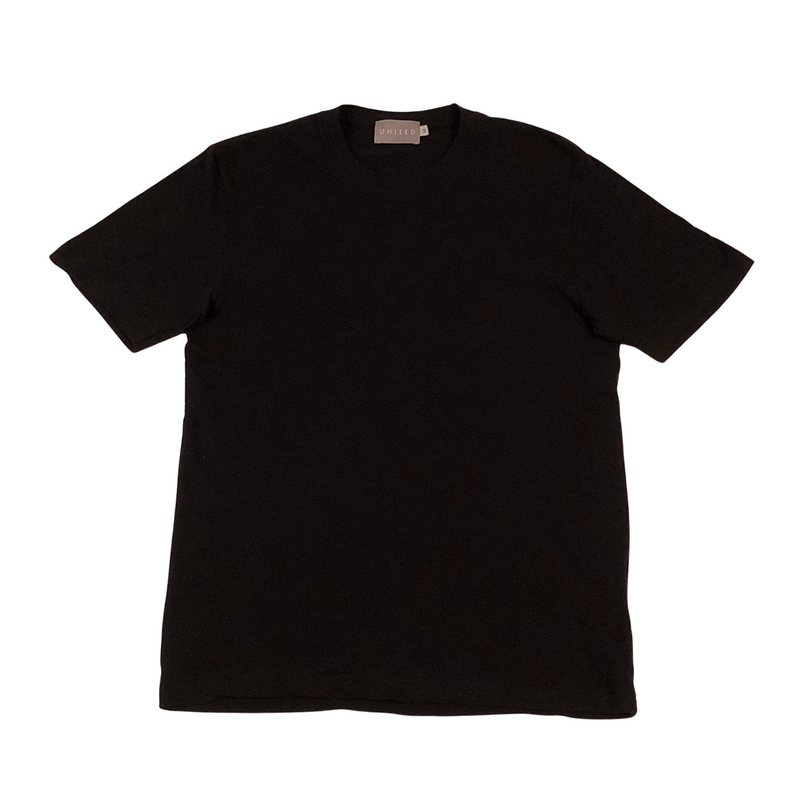 Black Cotton Slub Crewneck T-Shirt