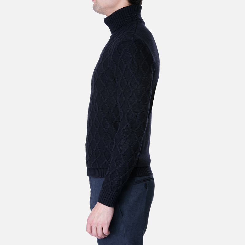 Wool Cableknit Turtleneck Sweater