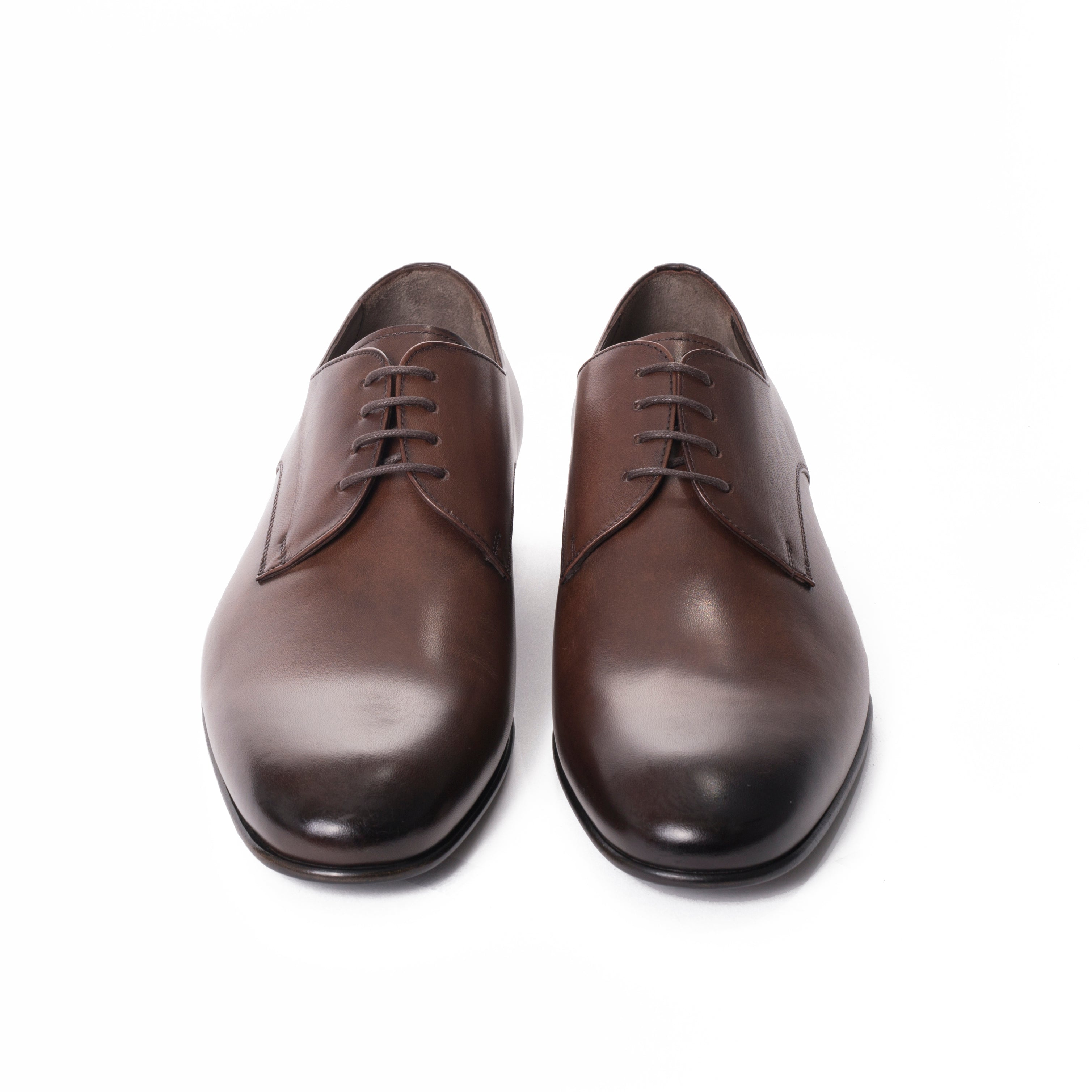 Burnished Brown Leather Derby Shoes