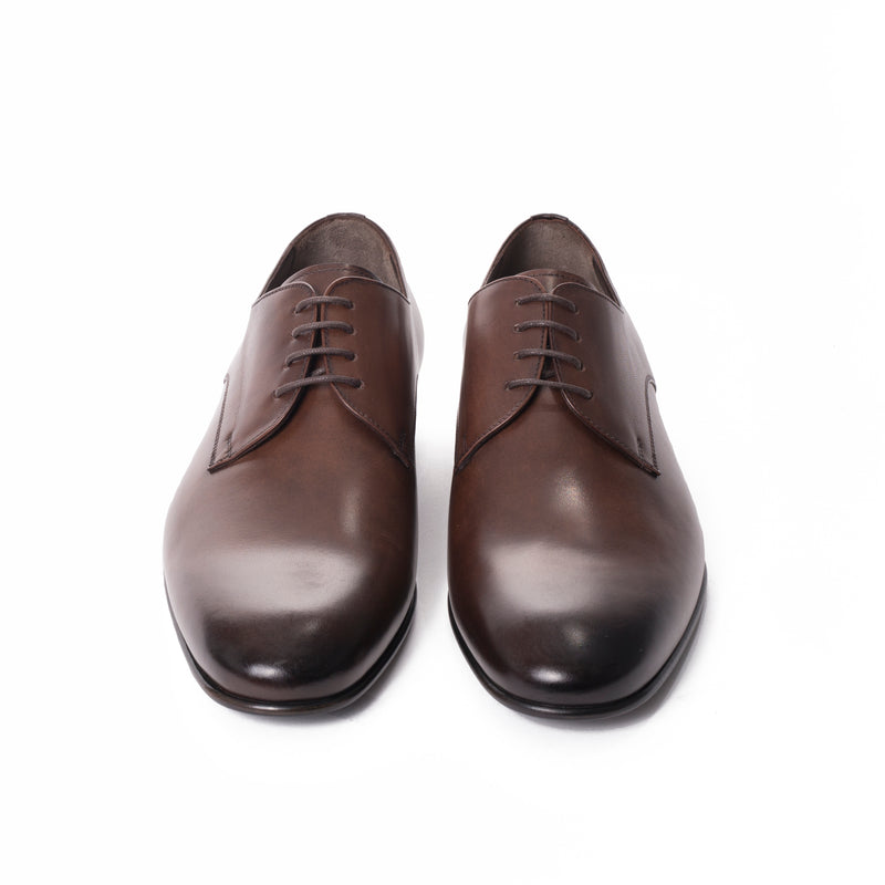Burnished Brown Leather Derby Shoes - Sydney's, Toronto, Bespoke Suit, Made-to-Measure, Custom Suit,