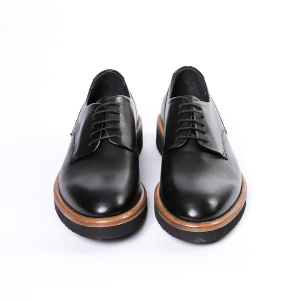 Black Chunky Sole Leather Derby Shoes - Sydney's, Toronto, Bespoke Suit, Made-to-Measure, Custom Suit,