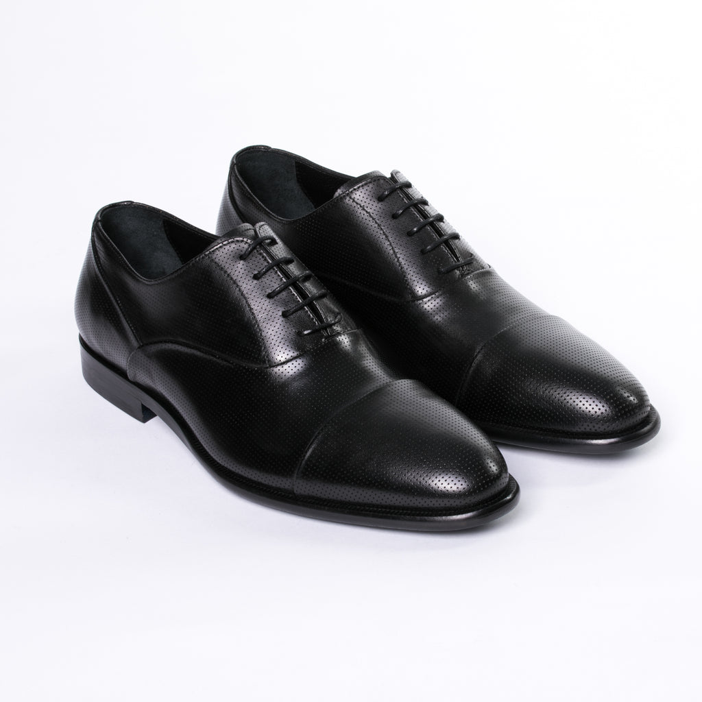 Black Perforated Cap Toe Dress Shoes - Sydney's, Toronto, Bespoke Suit, Made-to-Measure, Custom Suit,