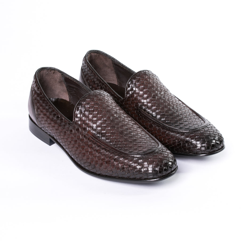Burnished Brown Leather Woven Loafer - Sydney's, Toronto, Bespoke Suit, Made-to-Measure, Custom Suit,