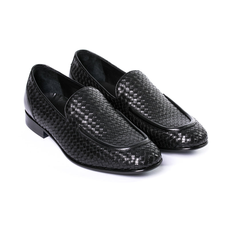 Black Leather Woven Loafer - Sydney's, Toronto, Bespoke Suit, Made-to-Measure, Custom Suit,