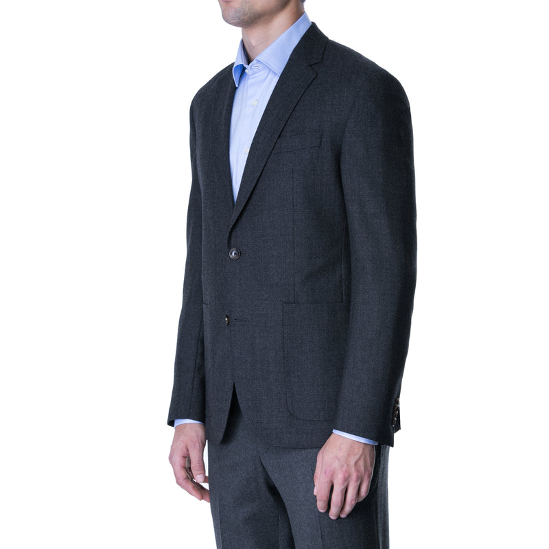 Blue Houndstooth Flannel Sports Jacket - Sydney's, Toronto, Bespoke Suit, Made-to-Measure, Custom Suit,