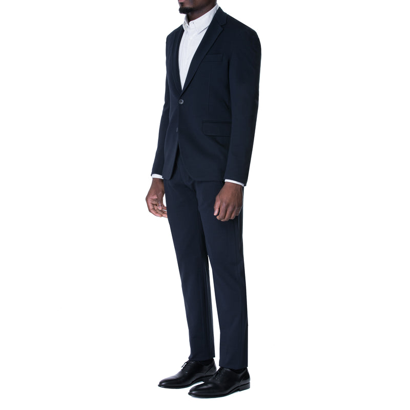French Navy Technical Jersey Two Button Jersey Suit - Sydney's, Toronto, Bespoke Suit, Made-to-Measure, Custom Suit,