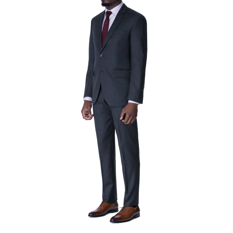 Charcoal Bordeaux Pinstripe Two Button Suit - Sydney's, Toronto, Bespoke Suit, Made-to-Measure, Custom Suit,