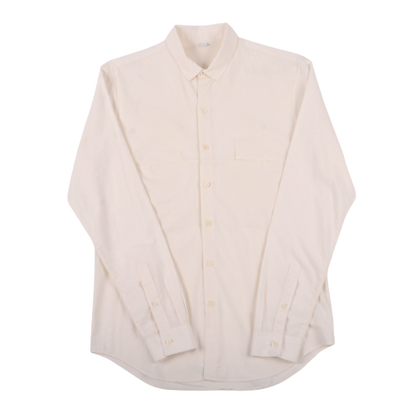 Wrinkle Button Down Double Pocket Shirt, Bone