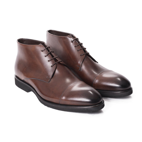 Burnished Brown Cap Toe Dress Shoes