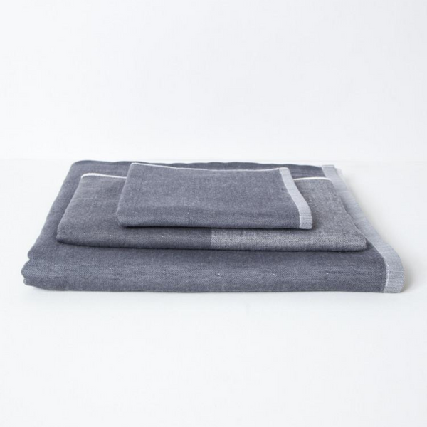 Two Tone Cotton Chambray Hand Towel, Charcoal
