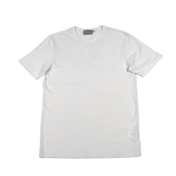 White Cotton Slub Crewneck T-Shirt