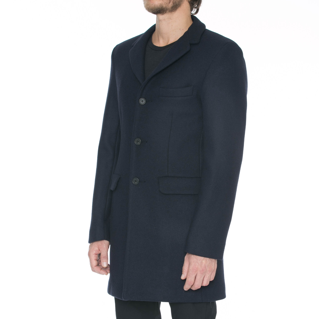 Navy Wool Car Coat