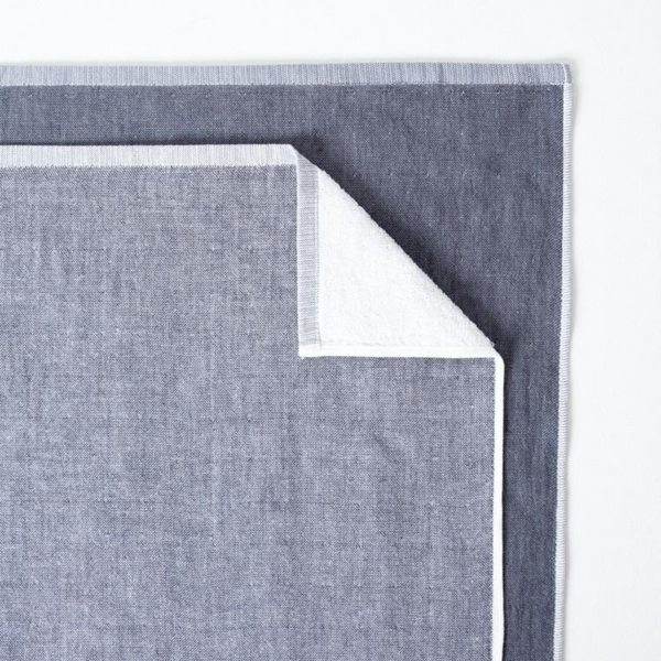 Two Tone Cotton Chambray Bath Towel, Charcoal