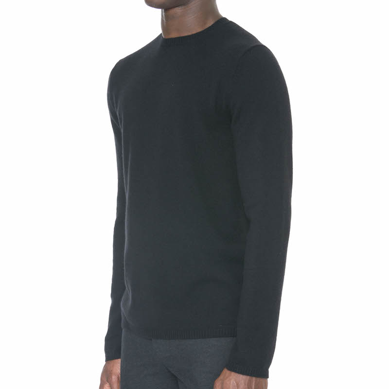 Black Cashmere/Wool Crewneck Sweater