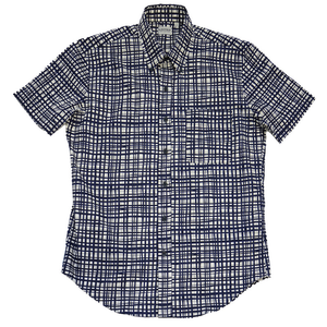 Navy Warped Grid Short Sleeve Shirt - Sydney's, Toronto, Bespoke Suit, Made-to-Measure, Custom Suit,