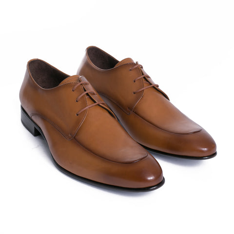 Tobacco High Gloss Leather Derby Shoes