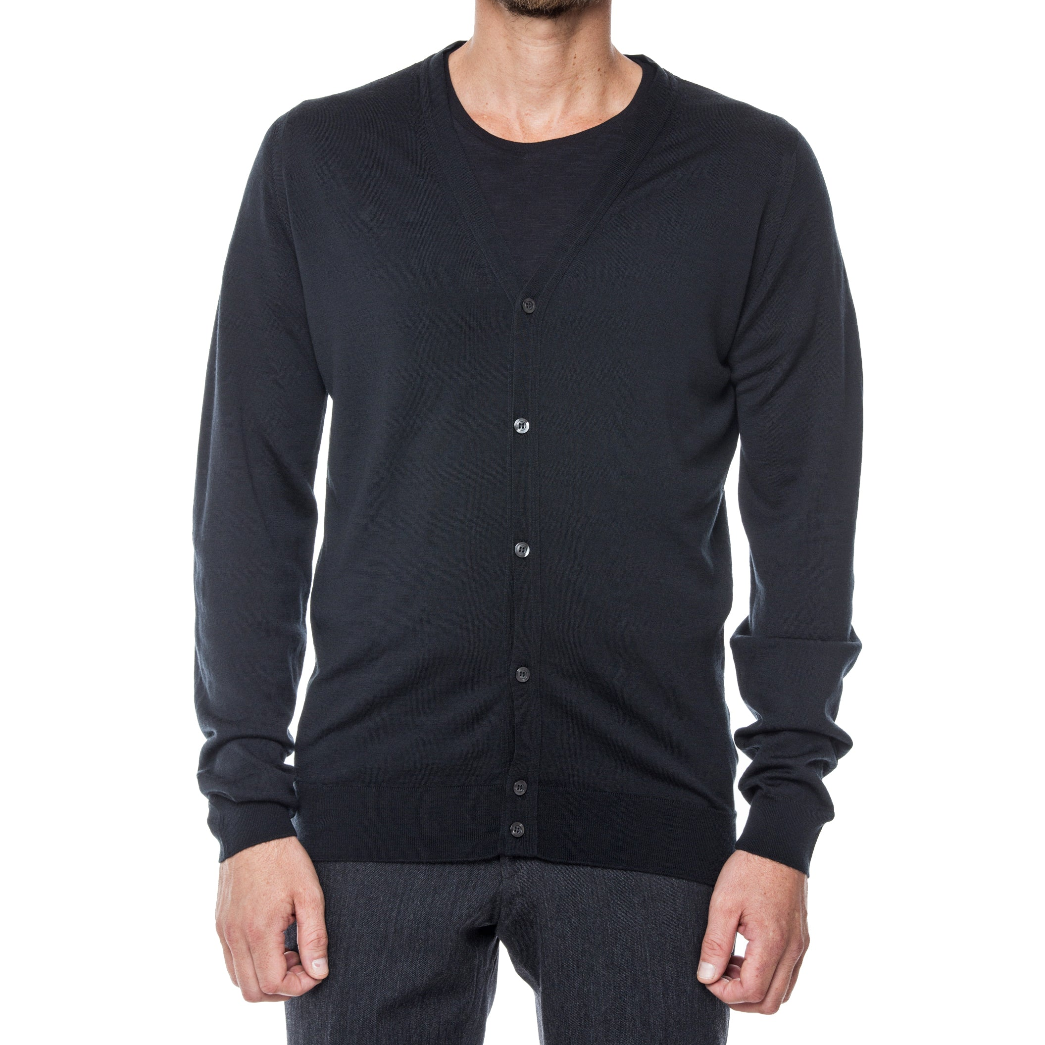Black Merino Wool Cardigan Sweater