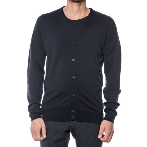 Black Marino Wool Cardigan Sweater