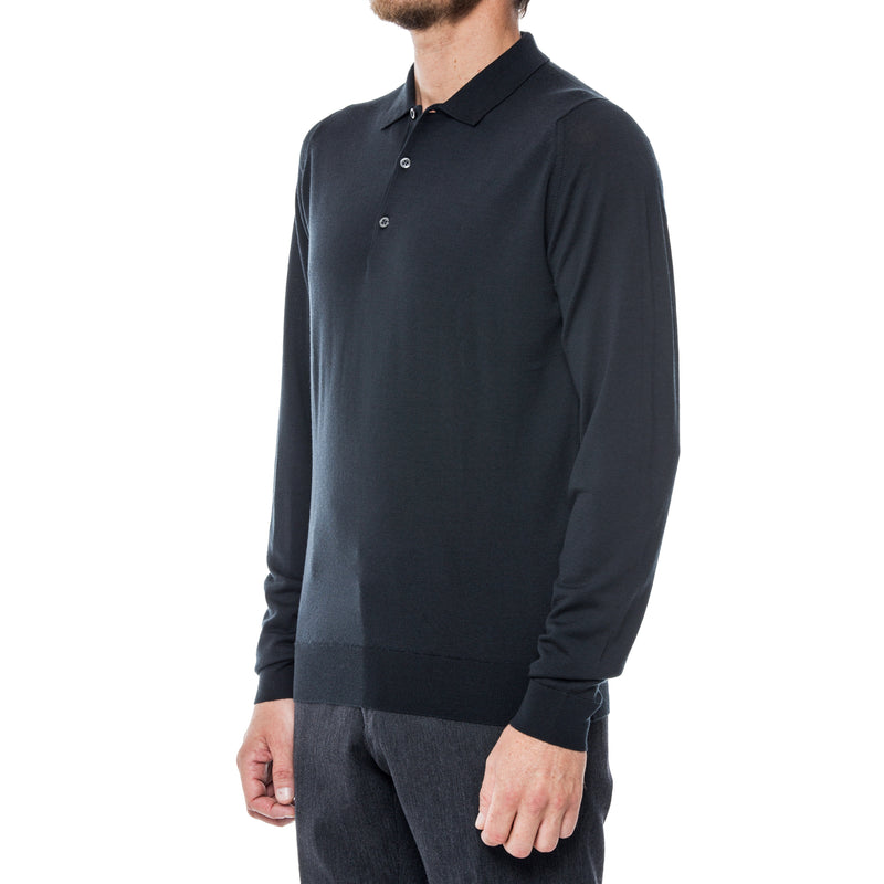 Black Merino L/S Knit Polo Sweater - Sydney's, Toronto, Bespoke Suit, Made-to-Measure, Custom Suit,