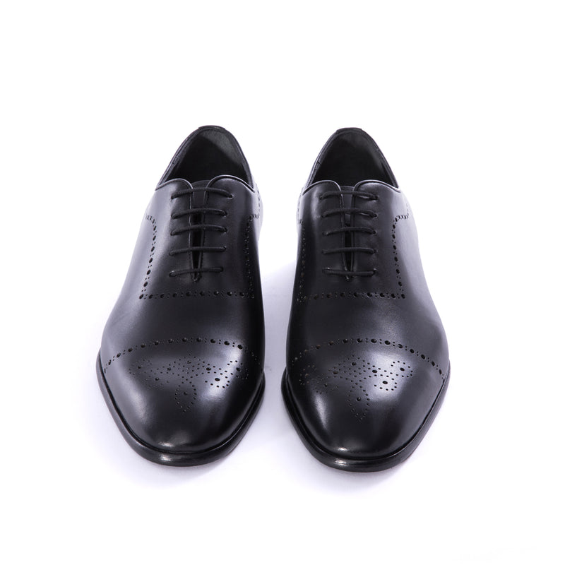 Black Brogue Calf Wholecut Oxford Dress Shoes - Sydney's, Toronto, Bespoke Suit, Made-to-Measure, Custom Suit,