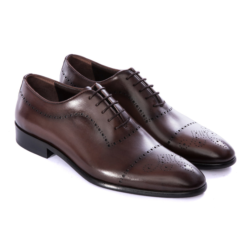 Brown Brogue Calf Wholecut Oxford Dress Shoes - Sydney's, Toronto, Bespoke Suit, Made-to-Measure, Custom Suit,
