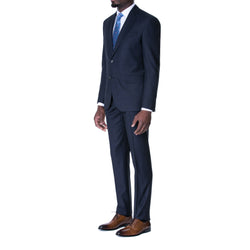 Navy Melange Birdseye Wool Suit - Sydney's, Toronto, Bespoke Suit, Made-to-Measure, Custom Suit,