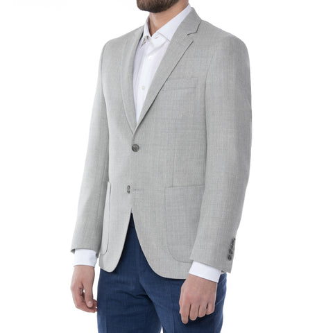 Grey Wool Linen Grid Suit