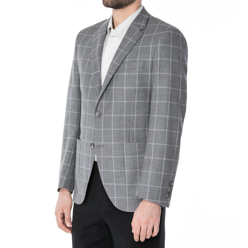 Grey Windowpane Sport Jacket - Sydney's, Toronto, Bespoke Suit, Made-to-Measure, Custom Suit,