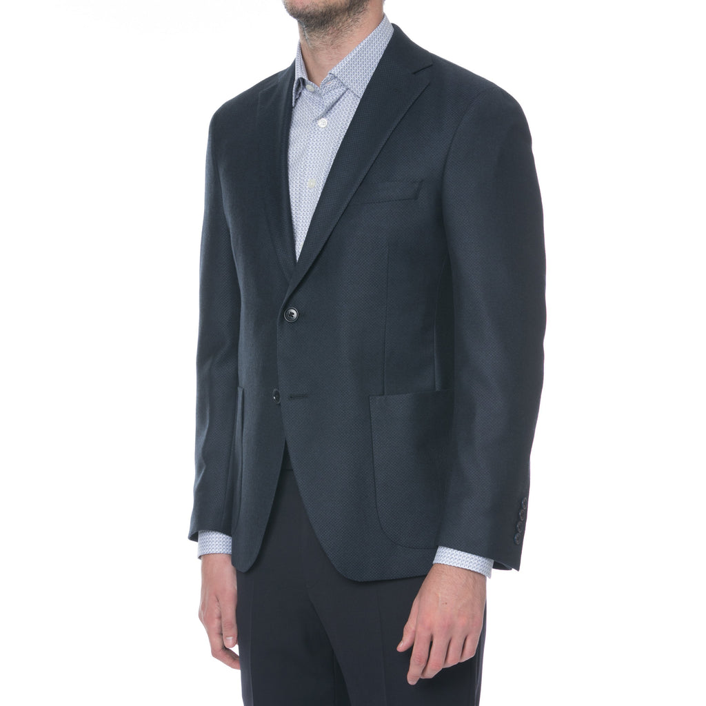 Navy Dobby Sport Jacket - Sydney's, Toronto, Bespoke Suit, Made-to-Measure, Custom Suit,