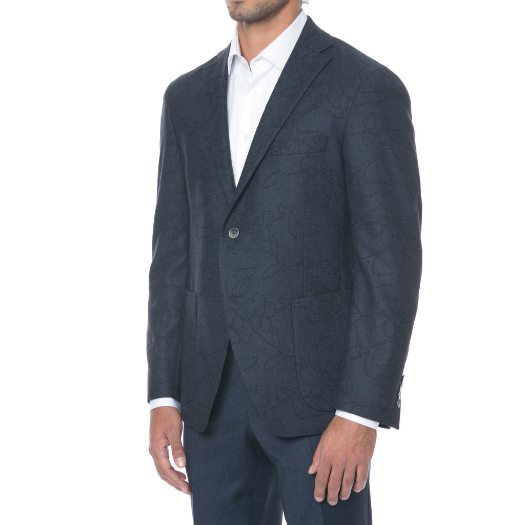 Navy Embroidered Sport Jacket - Sydney's, Toronto, Bespoke Suit, Made-to-Measure, Custom Suit,