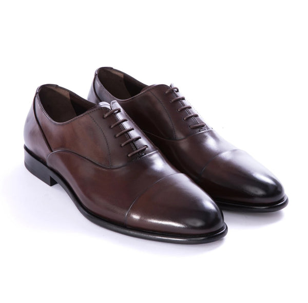 Burnished Brown Cap Toe Dress Shoes - Sydney's, Toronto, Bespoke Suit, Made-to-Measure, Custom Suit,